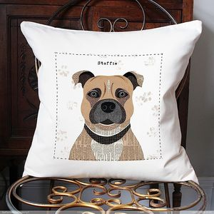 Staffordshire Bull Terrier Personalised Cushion Cover