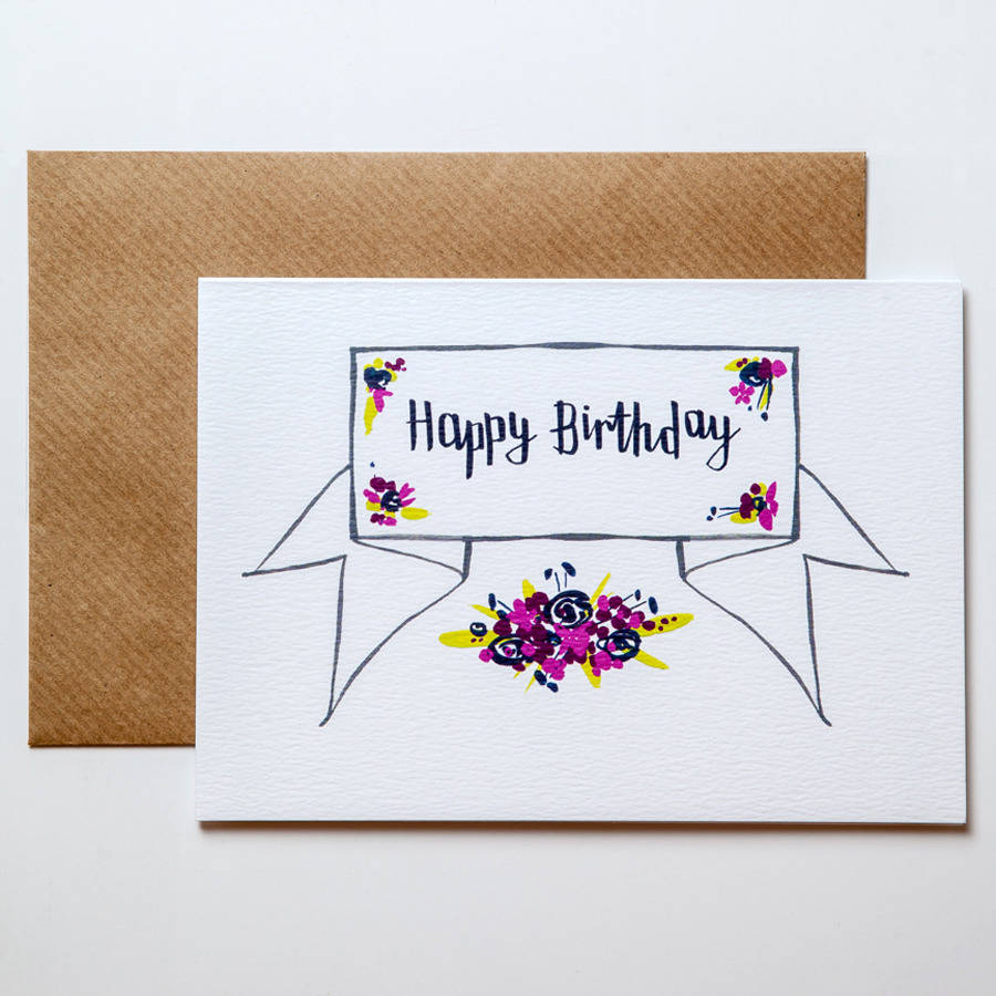 Calligraphy happy birthday card by betty etiquette