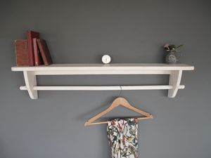 Vintage Wooden Clothes Rail With Shelf - shelves