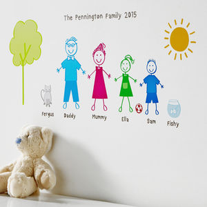 Personalised Stick Family Wall Sticker Portrait - more