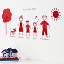 Personalised Stick Family Wall Sticker Portrait