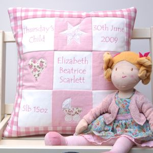 Personalised Pink Memory Cushion And Rag Doll Gift Set