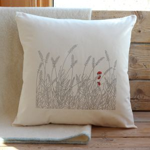 Lavender And Ladybirds Cushion Cover