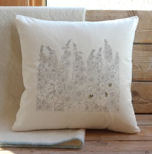 Hollyhocks And Bumble Bees Cushion Cover
