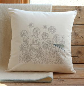 Dahlias And Dragonfly Cushion Cover