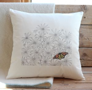 Daisies And Butterfly Cushion Cover