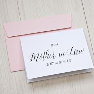 To My Mother In Law On My Wedding Day Card