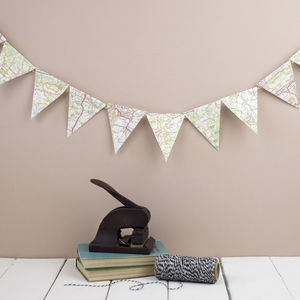 Vintage Map Mini Bunting - outdoor decorations