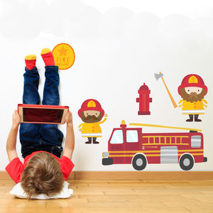 Fire Engine And Firemen Fabric Wall Stickers - children's room accessories
