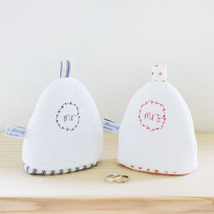 'Mr' & 'Mrs' Egg Cosies - by recipient