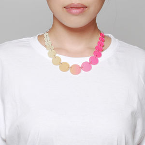 Circles Fade Necklace, Tan Magenta - contemporary jewellery