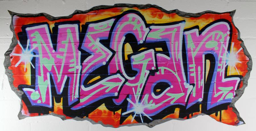 Personalised Pink Graffiti Wall Stickers