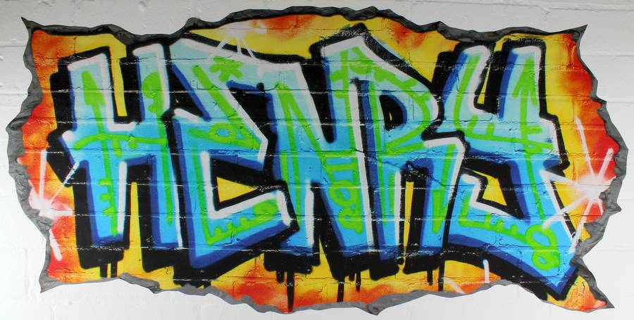 Personalised graffiti wall stickers australia neon uv