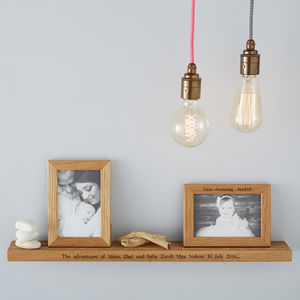 Personalised Multi Photo Frame Shelf With Two Frames - office & study