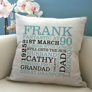 Personalised 90th Birthday Word Art Cushion