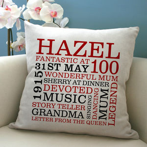 Personalised 100th Birthday Word Art Cushion - bedroom
