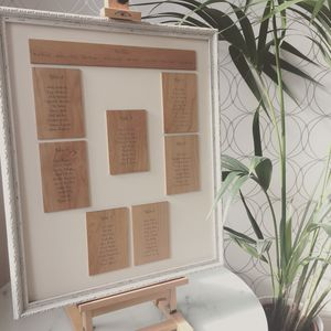 Wooden Framed Table Plan - wedding stationery