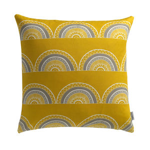 'Horseshoe Arch In Yellow' Cushion - bedroom