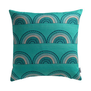 Horseshoe Arch Turquoise Cushion Cover