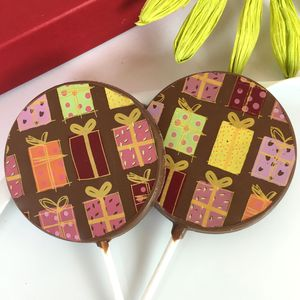 Chocolate Lollies, Set Of 10, With Colourful Designs - novelty chocolates