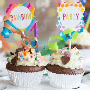 Rainbow Party Cupcake Toppers - cake decorations & toppers