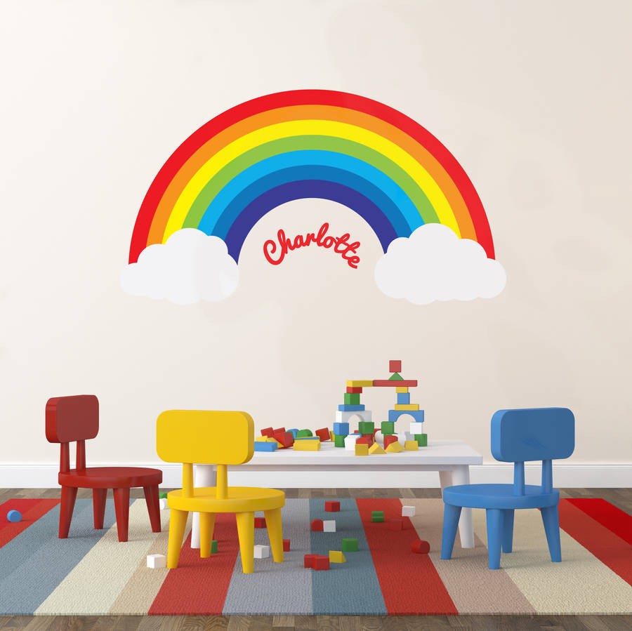 U0027Personalised Rainbowu0027 Wall Sticker. U0027
