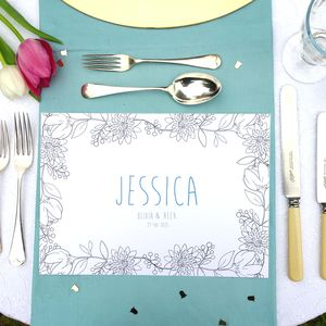 Personalised Wedding Colour Me In Table Place Mats - place card holders