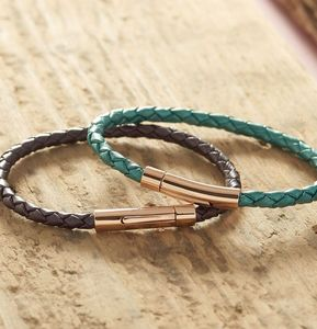 Personalised Rose Gold Braided Leather Bracelet