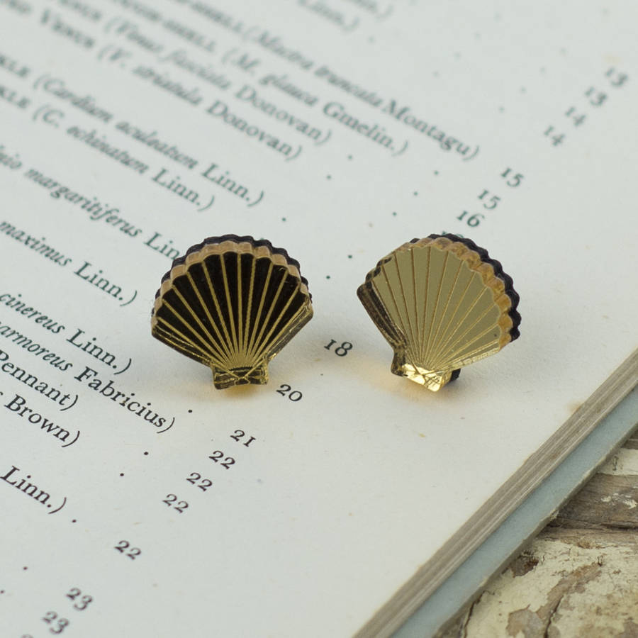 studs sea for earrings ariel nautical fashion beach mermaid women earring kinitial gold seashell conch from shell in jewelry stud silver item