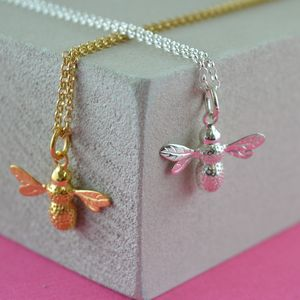 Bee Necklace With Personalised Gift Message
