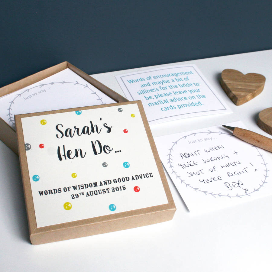 personalised hen party message box by modo creative ...