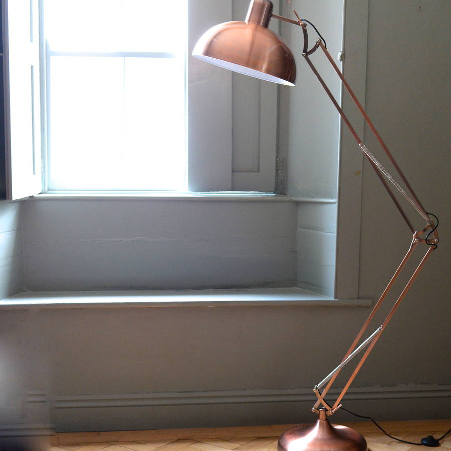 Copper angled floor lamp by the forest co for Rose gold floor lamp uk