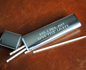 Personalised Silver Tooth Pick Holder - grooming gift sets