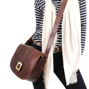 Brown Leather Cross Body Messenger Bag - cross-body bags