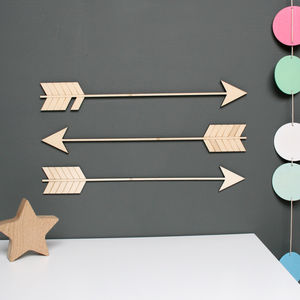 Wooden Arrow Wall Decoration - nursery pictures & prints