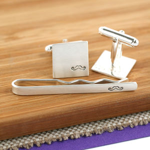 Silver Moustache Cufflink And Tie Gift Set