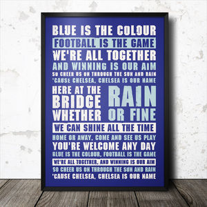 Chelsea Football Song Chant Poster