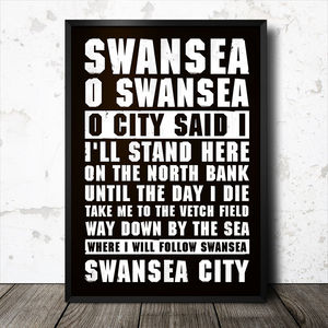 Swansea Football Song Chant Poster