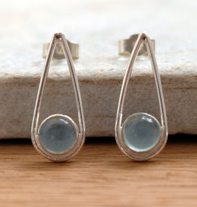 Silver Aquamarine Teardrop Earrings - earrings