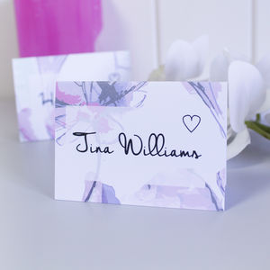 Personalised Pink Butterfly Pattern Wedding Place Cards - pretty pastels