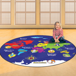 Child's World Map Floor Rug