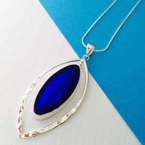 Murano Glass & Silver Hammered Elipse Pendant - gifts under £50 for her