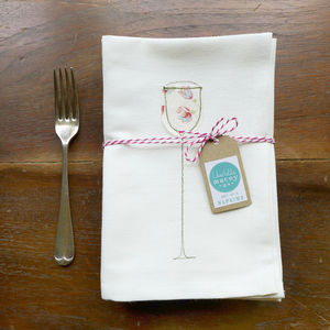 Embroidered Wine Glass Napkins
