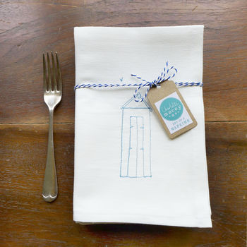 Embroidered Beach Hut Napkins - White Cotton