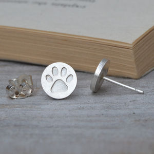 Paw Print Earring Studs In Solid Sterling Silver