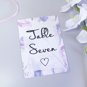 Personalised Pink Butterfly Wedding Table Number Cards