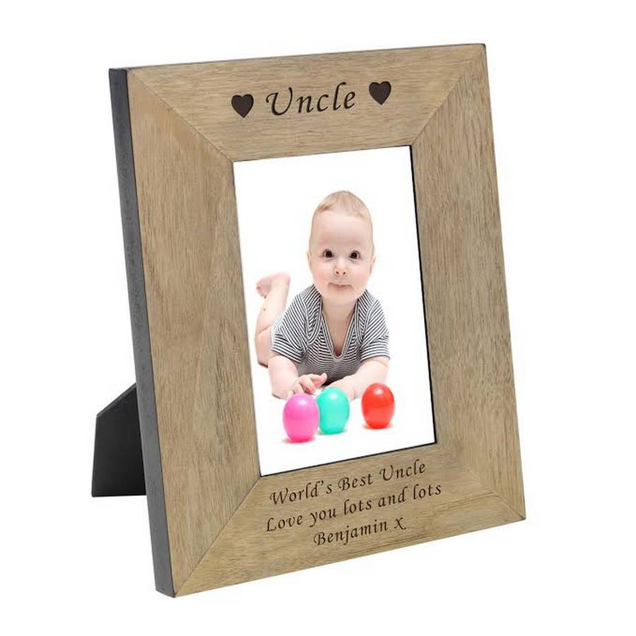 uncle personalised wooden photo frame by chalk amp cheese