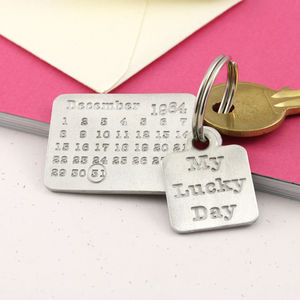 Lucky Day Pewter Calendar Keyring