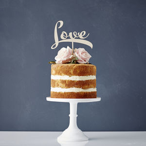 Calligraphy 'Love' Wooden Cake Topper - cake decoration