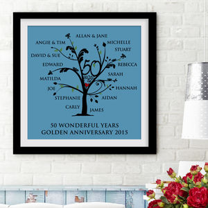 Personalised Golden Anniversary Family Tree Print - home accessories